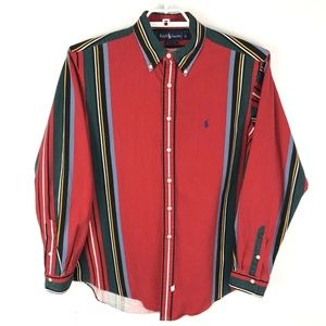 Ralph Lauren Polo 90s Vintage Red Striped Shirt